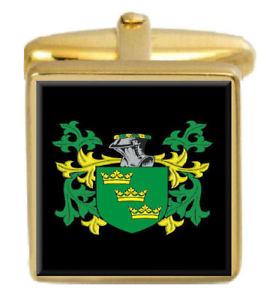 【送料無料】メンズアクセサリ― イングランドカフスボタンボックスコートwager england family crest surname coat of arms gold cufflinks engraved box