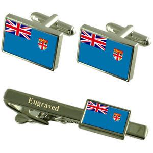 【送料無料】メンズアクセサリ― フィジーカフスボタンタイクリップマッチングボックスfiji flag cufflinks engraved tie clip matching box set