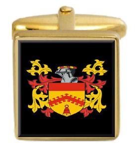 【送料無料】メンズアクセサリ― イギリスカフスボタンボックスコートrumgay england family crest surname coat of arms gold cufflinks engraved box