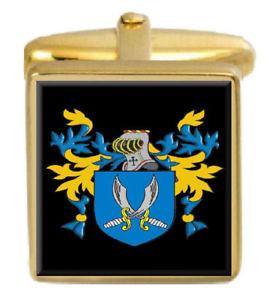 【送料無料】メンズアクセサリ― イギリスコートカフスボタンボックスsymes england family crest surname coat of arms gold cufflinks engraved box