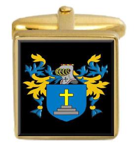 【送料無料】メンズアクセサリ― スチールスコットランドカフスボタンボックスコートsteel scotland family crest surname coat of arms gold cufflinks engraved box