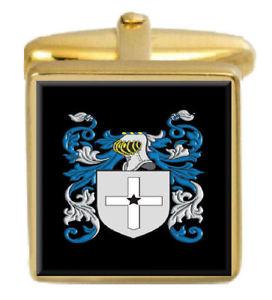 【送料無料】メンズアクセサリ― イングランドカフスボタンボックスコートeam england family crest surname coat of arms gold cufflinks engraved box