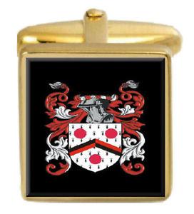 【送料無料】メンズアクセサリ― イギリスカフスボタンボックスコートcatlin england family crest surname coat of arms gold cufflinks engraved box