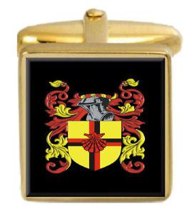 【送料無料】メンズアクセサリ― イングランドカフスボタンボックスコートdent england family crest surname coat of arms gold cufflinks engraved box