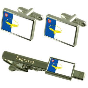 【送料無料】メンズアクセサリ― アゾレスカフスボタンタイクリップマッチングボックスthe azores flag cufflinks engraved tie clip matching box set