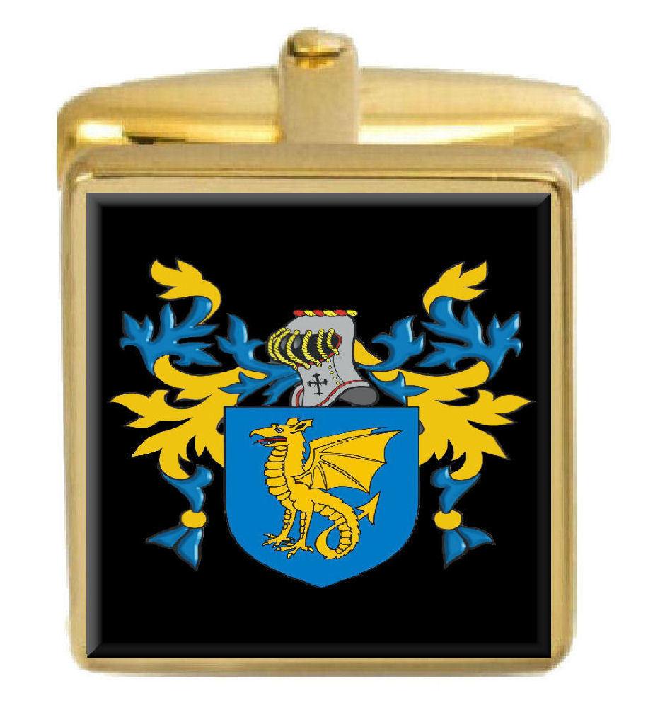 【送料無料】メンズアクセサリ― ブレーキイングランドカフスボタンボックスコートbrake england family crest surname coat of arms gold cufflinks engraved box