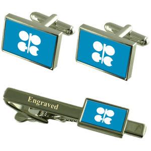【送料無料】メンズアクセサリ― opecフラグカフスボタンタイクリップマッチングボックスopec flag cufflinks engraved tie clip matching box set