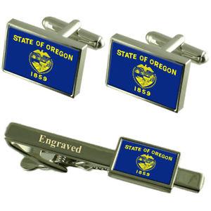 【送料無料】メンズアクセサリ― オレゴンカフスボタンタイクリップマッチングボックスoregon flag cufflinks engraved tie clip matching box set