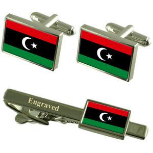 【送料無料】メンズアクセサリ― リビアカフスボタンタイクリップマッチングボックスlibya flag cufflinks engraved tie clip matching box set