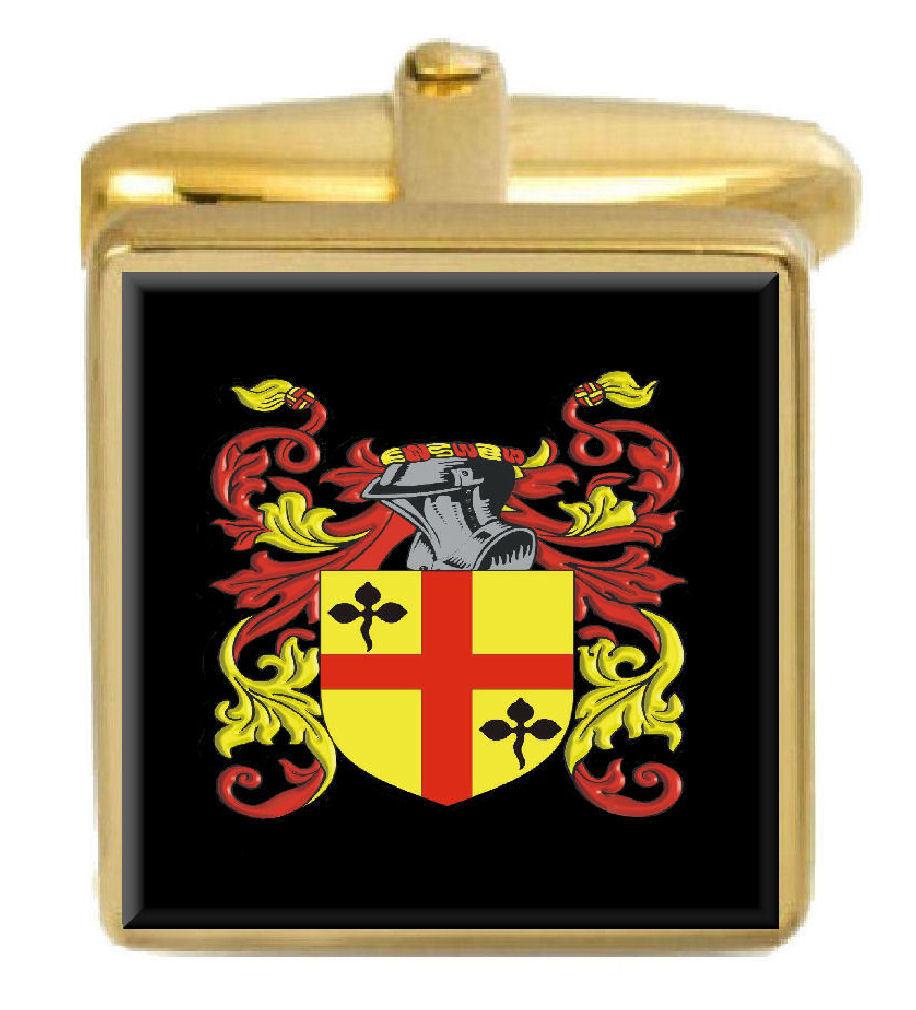 【送料無料】メンズアクセサリ― ミューズイングランドカフスボタンボックスコートmews england family crest surname coat of arms gold cufflinks engraved box