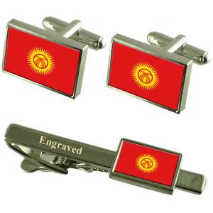 【送料無料】メンズアクセサリ― キルギスカフスボタンタイクリップマッチングボックスkyrgyzstan flag cufflinks engraved tie clip matching box set
