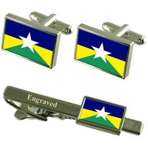 【送料無料】メンズアクセサリ― フラグカフスボタンタイクリップマッチングボックスrondonia flag cufflinks engraved tie clip matching box set