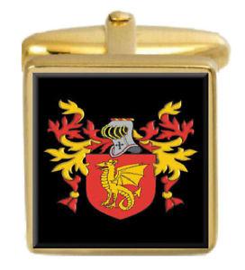 【送料無料】メンズアクセサリ― イギリスカフスボタンボックスコートcoode england family crest surname coat of arms gold cufflinks engraved box