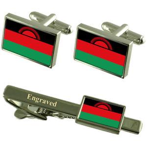 【送料無料】メンズアクセサリ― マラウイカフスボタンタイクリップマッチングボックスmalawi flag cufflinks engraved tie clip matching box set