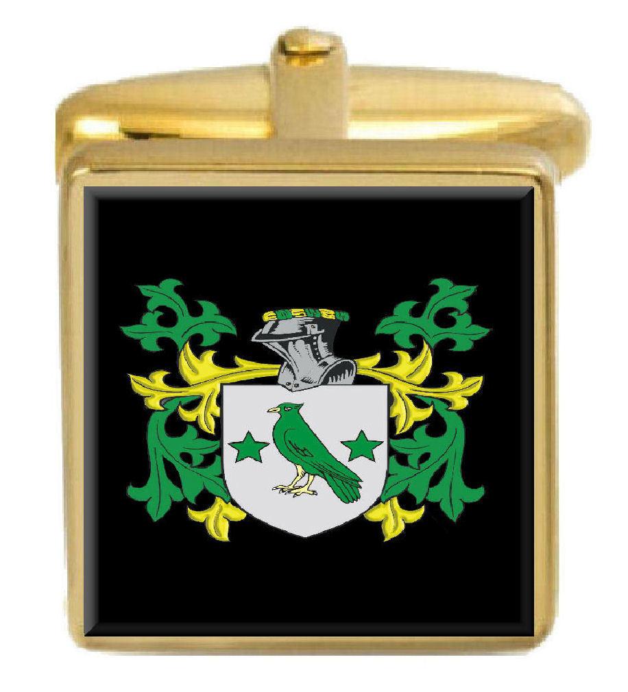 【送料無料】メンズアクセサリ― ペティグリューアイルランドカフスボタンボックスコートpettigrew ireland family crest surname coat of arms gold cufflinks engraved box