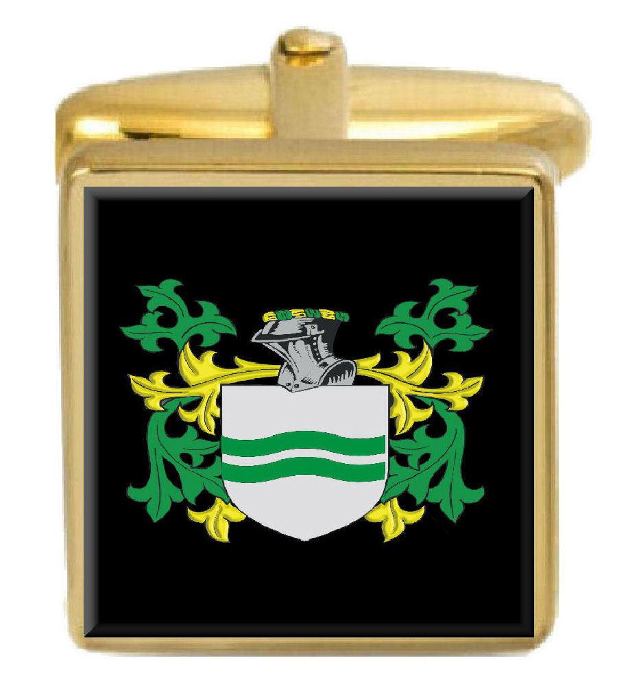 【送料無料】メンズアクセサリ― ブロードハーストカフスボタンボックスコートbroadhurst england family crest surname coat of arms gold cufflinks engraved box