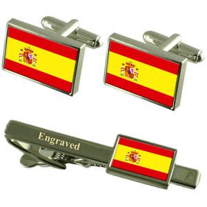 【送料無料】メンズアクセサリ― スペインカフスボタンタイクリップマッチングボックスspain flag cufflinks engraved tie clip matching box set