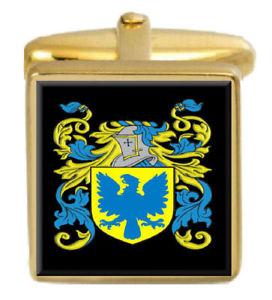 【送料無料】メンズアクセサリ― イギリスカフスボタンボックスコートrushant england family crest surname coat of arms gold cufflinks engraved box