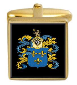 【送料無料】メンズアクセサリ― ブラウンイングランドカフスボタンボックスコートbrown england family crest surname coat of arms gold cufflinks engraved box