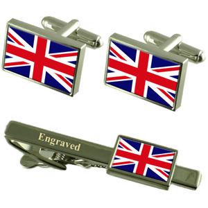 【送料無料】メンズアクセサリ― カフスボタンタイクリップマッチングボックスbritain flag cufflinks engraved tie clip matching box set