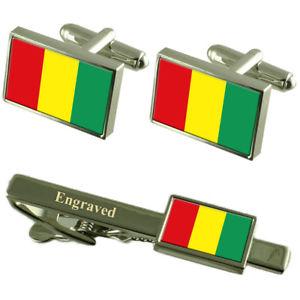 【送料無料】メンズアクセサリ― ギニアカフスボタンタイクリップマッチングボックスguinea flag cufflinks engraved tie clip matching box set