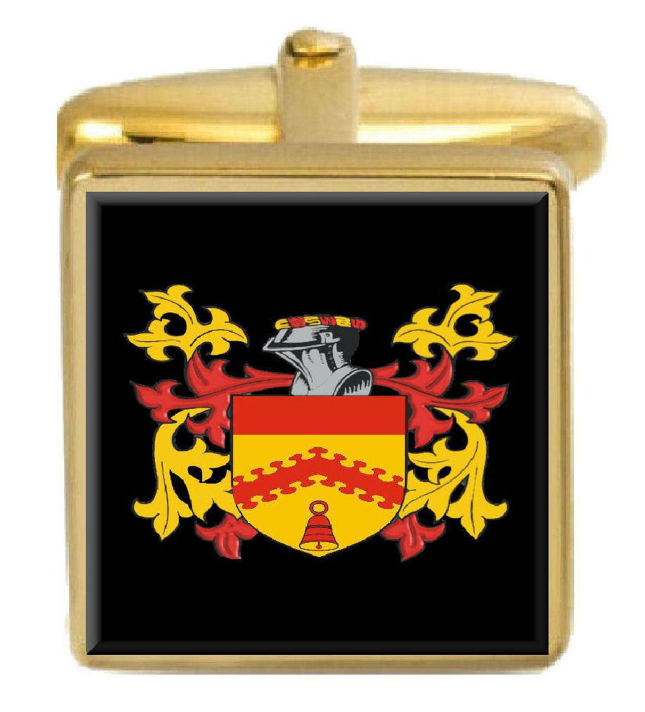 【送料無料】メンズアクセサリ― ボストンニューイングランドカフスボタンボックスコートboston england family crest surname coat of arms gold cufflinks engraved box