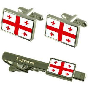 【送料無料】メンズアクセサリ― グルジアカフスボタンタイクリップマッチングボックスgeorgia flag cufflinks engraved tie clip matching box set