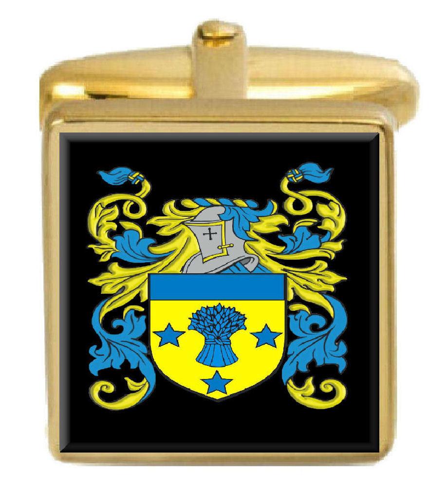 【送料無料】メンズアクセサリ― イギリスカフスボタンボックスコートpount england family crest surname coat of arms gold cufflinks engraved box