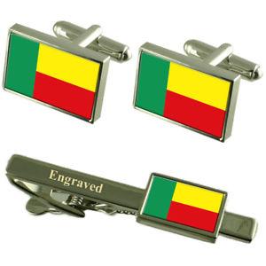 【送料無料】メンズアクセサリ― ベナンカフスボタンタイクリップマッチングボックスbenin flag cufflinks engraved tie clip matching box set