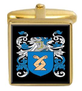 【送料無料】メンズアクセサリ― イギリスカフスボタンボックスコートsaunt england family crest surname coat of arms gold cufflinks engraved box