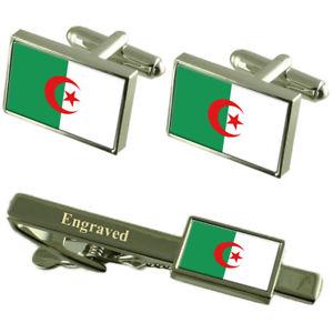 【送料無料】メンズアクセサリ― アルジェリアカフスボタンタイクリップマッチングボックスalgeria flag cufflinks engraved tie clip matching box set
