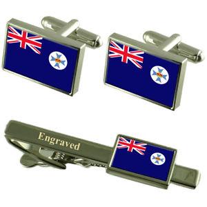 【送料無料】メンズアクセサリ― クイーンズランドカフスボタンタイクリップマッチングボックスqueensland flag cufflinks engraved tie clip matching box set