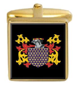 【送料無料】メンズアクセサリ― イングランドカフスボタンボックスコートvenables england family crest surname coat of arms gold cufflinks engraved box