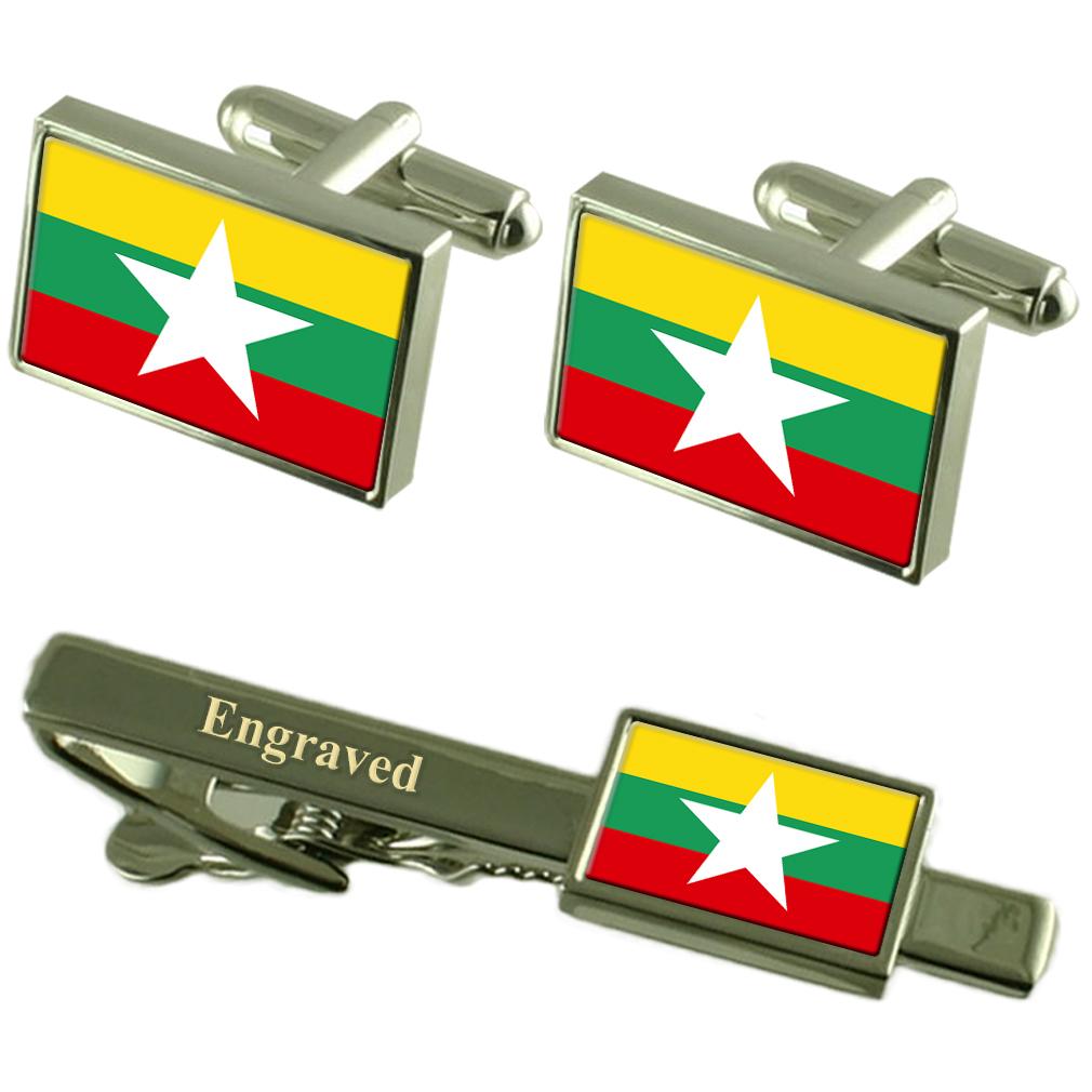 【送料無料】メンズアクセサリ― ミャンマーカフスボタンタイクリップマッチングボックスmyanmar flag cufflinks engraved tie clip matching box set