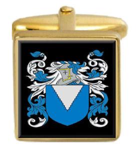 【送料無料】メンズアクセサリ― イギリスカフスボタンボックスコートharmes england family crest surname coat of arms gold cufflinks engraved box