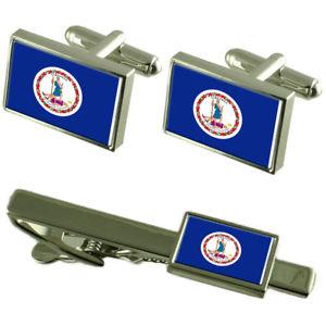 【送料無料】メンズアクセサリ― バージニアカフスボタンタイクリップマッチングボックスセットvirginia flag cufflinks tie clip matching box gift set