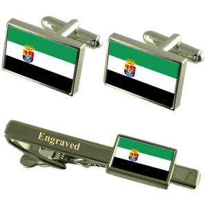 【送料無料】メンズアクセサリ― エストレマドゥーラカフスボタンタイクリップマッチングボックスextremadura flag cufflinks engraved tie clip matching box set