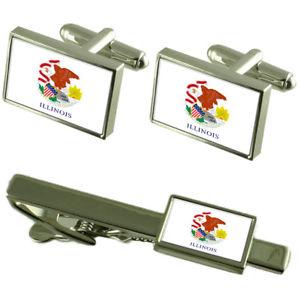 【送料無料】メンズアクセサリ― イリノイカフスボタンタイクリップマッチングボックスセットillinois flag cufflinks tie clip matching box gift set