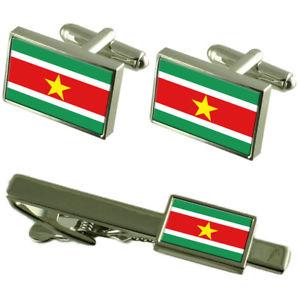 【送料無料】メンズアクセサリ― スリナムカフスボタンタイクリップマッチングボックスセットsuriname flag cufflinks tie clip matching box gift set