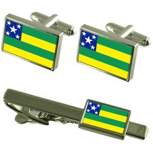 【送料無料】メンズアクセサリ― セルジペフラグカフスボタンタイクリップマッチングボックスセットsergipe flag cufflinks tie clip matching box gift set