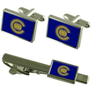 【送料無料】メンズアクセサリ― カフスボタンタイクリップマッチングボックスセットcommonwealth flag cufflinks tie clip matching box gift set