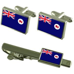 【送料無料】メンズアクセサリ― タスマニアカフスボタンタイクリップマッチングボックスセットtasmania flag cufflinks tie clip matching box gift set