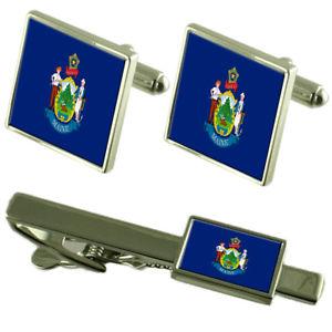 【送料無料】メンズアクセサリ― メインカフスボタンタイクリップマッチングボックスセットmaine flag cufflinks tie clip matching box gift set