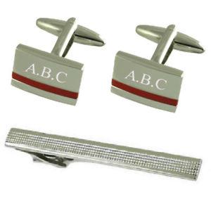 【送料無料】メンズアクセサリ― レッドジャスパーシルバーカフスボタンタイクリップred jasper silver cufflinks engraved gift set with tie clip 65mm