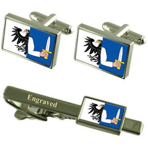 【送料無料】メンズアクセサリ― フラグカフスボタンタイクリップマッチングボックスconnacht flag cufflinks engraved tie clip matching box set