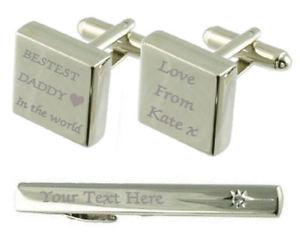【送料無料】メンズアクセサリ― カフスボタンタイクリップボックスbestest daddy engraved cufflinks tie clip box set