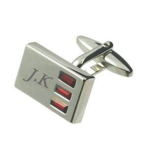 【送料無料】メンズアクセサリ― メッセージボックスクリスタルカフスボタンred crystal cufflinks engraved in message box