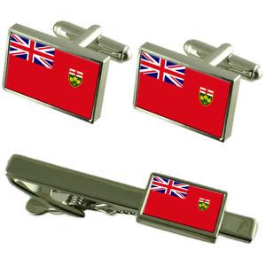 【送料無料】メンズアクセサリ― オンタリオカフスボタンタイクリップマッチングボックスセットontario flag cufflinks tie clip matching box gift set