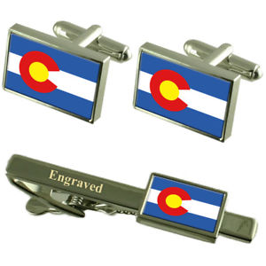 【送料無料】メンズアクセサリ― コロラドカフスボタンタイクリップマッチングボックスcolorado flag cufflinks engraved tie clip matching box set