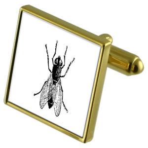 【送料無料】メンズアクセサリ― カフスボタンクリスタルタイクリップセットフライfly insect goldtone cufflinks crystal tie clip gift set